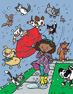 """""""It's raining cats and dogs"""" by Poddley Poddley Arte Dachshund, Parasols, Raining Cats And Dogs, Dog Illustration, Book Images, Dog Cat, Snoopy, Kitty, Expressions"""