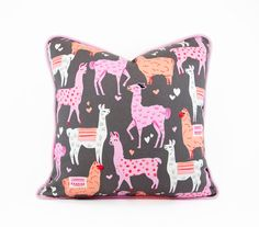 Alpaca Llama Pillow Cover with Pink Piping, Kids Pillows, Animal Pillows, Valentines Pillow,  Alpaca Llama Decor, Pink Llamas Packmates by HermitCrabStitchery on Etsy https://www.etsy.com/listing/230950721/alpaca-llama-pillow-cover-with-pink