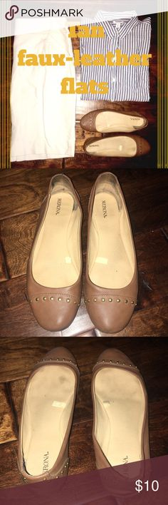 Tan faux-leather flats with gold dot details! Tan faux-leather flats with golden metal details. Please see photos for details, and wear. Brand: Verona. Size: nine. Condition: used. Merona Shoes Flats & Loafers