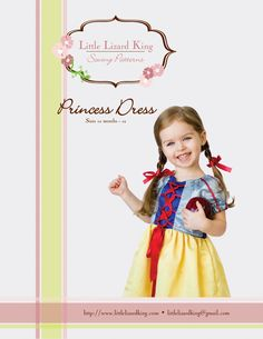 Princess Dress PDF Sewing Pattern and Tutorial 12M to 11/12 by Little Lizard King via lilblueboo.com