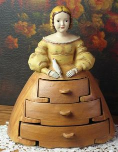 """Doll Cabinet - inspired by a primitive sewing cabinet, an early American curiosity will harbour small necessities within her skirt. Hand painted composite. 14 x 11 x 7""""."""