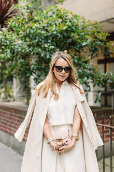Blogger Caroline from PardonMyObsession blog wearing the Chamelli 18K Gold Bangle with dusty rose hues   Edge of Ember