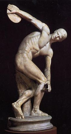 .The Discus Thrower…advertisement of sorts for the Olympiad. This is a roman copy of the original. Considered part of the classical period of Greek art. Certainly the evolution from Kouros to this is obvious as this piece is dynamic. The sculptor captures the moment just before the athlete releases the disc. Amazing.