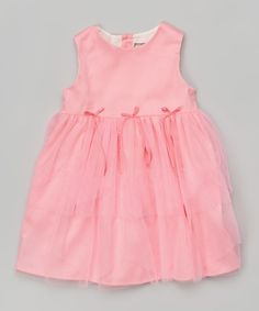 Look at this Petit Confection Coral Tulle Tiered Dress - Infant on #zulily today!