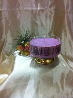 GLASS Gold Border Sundae Dish with Candle, $16.95 NZD Vintage Candles, Soy Wax Candles, Christmas Ideas, Container, Dish, Pottery, Glass, Gold, Ceramics