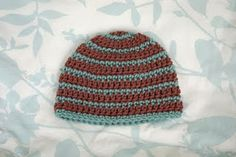 Thick and Thin striped Beanie, size 3 months, free crochet pattern