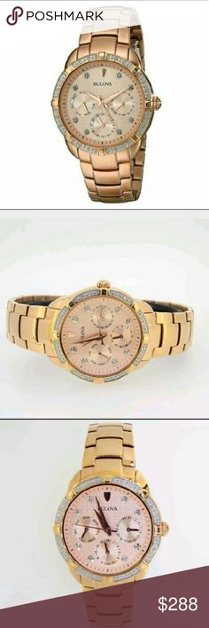 NWT Bulova $499 diamond rose gold watch Bulova Women's diamond Rose gold Multi-Function Dial Watch  PRICE? $288.00 . AUTHENTIC WATCH? . AUTHENTIC BOX? . AUTHENTIC MANUAL  SHIPPING? PLEASE ALLOW FEW BUSINESS DAYS FOR ME TO SHIPPED IT OFF.I HAVE TO GET IT FROM MY WAREHOUSE?  THANK YOU FOR YOUR UNDERSTANDING. Bulova Accessories Watches