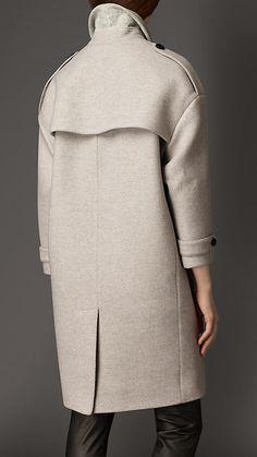 Pearl grey Oversize Virgin Wool Cashmere Herringbone Caban - Image 2