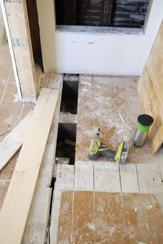 Replace a rotten floor plank. I have a feeling I will be doing a lot of this when I get to de-carpeting our 2nd story.