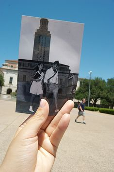 "Past meets present in this photo from The Alcalde's ""Dear Photograph"" project, taken by Zen Ren."