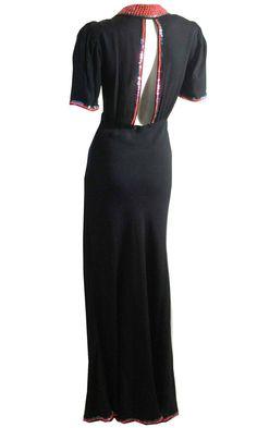 vintage PINK Sequin Trimmed Open Back Black  Evening Gown 1930s by DorotheasCloset