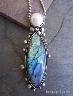 RESERVED FOR R.J. Labradorite and Pearl Sterling by hodgepodgerie2