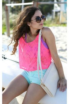 Neon pink lace tank♥
