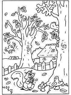 Kleurplaat: eekhoorn Disney Coloring Pages, Adult Coloring Pages, Coloring Pages For Kids, Mandala Coloring Pages, Colouring Pages, Coloring Sheets, Color By Numbers, Autumn Crafts, Autumn Theme