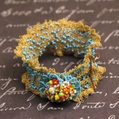 Wire Crochet Cuff - Victorian Nosegay made by Albina Rose; sold