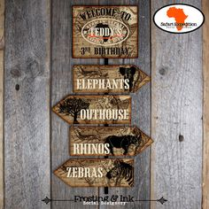 Items similar to Safari Party - Party Signs - Welcome Sign - Directional Arrow Signs - Customized Printable (Jungle, Wild Animal, Zoo, Africa, Vintage) on Etsy Safari Birthday Party, 10th Birthday Parties, Jungle Party, Birthday Ideas, Safari Theme, Jungle Safari, Jungle Theme, Zoo Signage, Wayfinding Signs