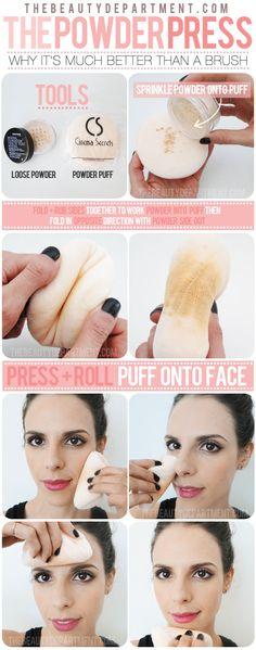 Powder puff: Set foundation with powder and puff