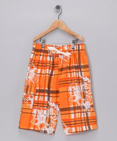 Take a look at this Maui Waves Orange Plaid Boardshorts - Boys by Swan Dive: Kids' Swimwear on #zulily today!
