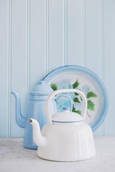 white & blue #enamel in the kitchen #interior