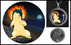 Typhlosion Pokemon necklace on Etsy for $10.