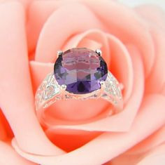 Amethyst Sterling Silver Ring Amethyst 925 Sterling Silver Ring Stone Size: 13x13 mm, Ring Size: 9 Jewelry Rings