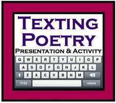 Texting Poetry: A Unique Writing Activity (Presentation, Handout, and Worksheet). Teaching Poetry, Teaching Language Arts, Teaching Reading, Teaching Ideas, Teaching Tools, Poetry Unit, Writing Poetry, Essay Writing, Writing Ideas