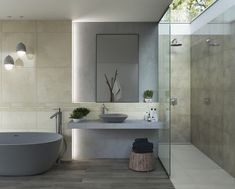 A soathing bathroom combination. Wall tiles from the Naturstone collection and floor tiles from the Roble collection. #EurcanTile #BathroomLove #Paradyz