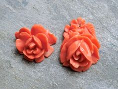 Vintage Celluloid Coral Color Rose Flower Jewelry Supply 2 Pieces Great Pendant