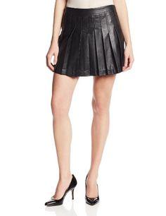 Keep Looking Busy - BCBGMAXAZRIA Women's Shane Pleated Faux Leather Flared Skirt, Black, Medium