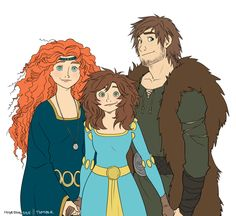 Hiccup & Merida w/ daughter. I don't ship Hiccup and Merida but this is cute.