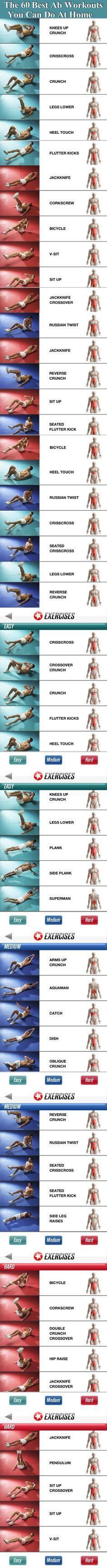 Los mejores ejercicios de abdominales que puedes hacer en casa. #abs #workout #hiit