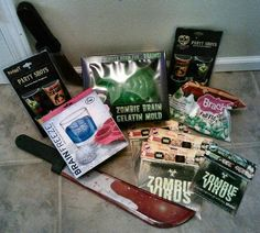 An assortment of zombie party necessities.  A lot of these were found on Amazon, and some at our local Spirit Halloween store.