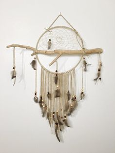 What To Hang Above Your Couch I The Barn Owl Dreamcatcher - Natural Wood Branch Dream Catcher, Leather Lace with Accent feathers, Beads, Hanging Crystal or Gemstone