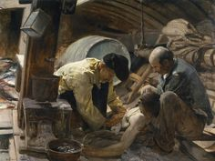 'And They Still Say Fish are Expensive!' - Author Sorolla y Bastida, Joaquín - Procedence Acquisition, 1895 -- Inside a ship, two aged fishermen with worried expressions tend to a young one who lies on the deck after an accident. A protective medal hangs from his neck. The composition is unbalanced toward one side, giving it great depth. Some aspects, such as the warm lighting coming from the hatchway, foreshadow the importance light will have in this artist's later works.