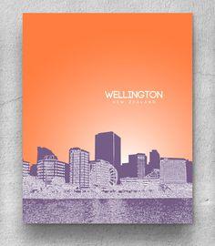 Wellington New Zealand Skyline Poster / Destination Travel Art Poster / Any City or Landmark. $20.00, via Etsy.