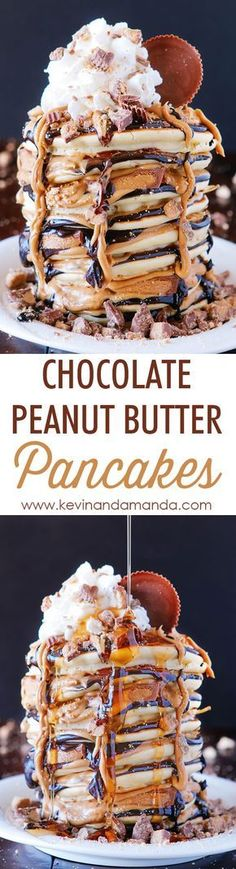 OMG These Reese's Chocolate Peanut Butter Cup Pancakes are UNREAL!!! Love this giant stack of pancakes!!
