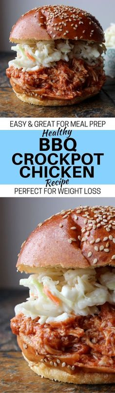 The BEST Easy and HEALTHY BBQ Crockpot Chicken Recipe! Seriously, this slow cooker pulled chicken is a great healthy dinner recipe for weight loss, or even meal prep for the week.