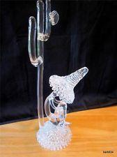 VINTAGE SPUN GLASS  FIGURINE MAN WITH SOMBRERO TAKING SIESTA UNDER A CACTUS