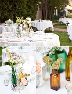 Bud vases as centerpieces