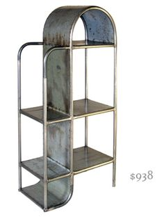 Flowing industrial art bookcase.  Crunch some style into your delicate living room.