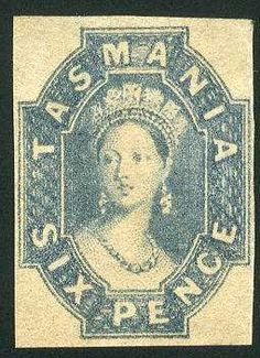 Tasmania 6 P. gray blue 1860, fresh colors, on all sides having full margins, clean unused without gum, superb.    Dealer  Veuskens Auctions    Auction  Minimum Bid:  60.00 EUR