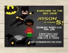 BATMAN AND ROBIN BIRTHDAY INVITATION kidinvites Digital Art on