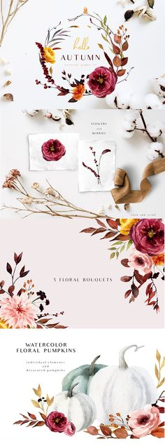 UPDATE ( 3 oktober) Gold alphabet, floral bouquets UPDATE ( 29 september) Pumpkins and decorated pumpkins, gold elements, gold frames Welcome to my store! Pumpkin Facial, Graphic Design Brochure, Watercolor Drawing, Hello Autumn, Floral Bouquets, Color Themes, Graphic Illustration, Pink And Gold, Floral Arrangements