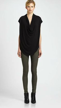 Helmut Lang top -  best tops to wear with leggings on #redsoledmomma.com