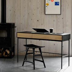 The Osso stool is designed to work in pairs or they are great by themselves. Make of solid oak. Specifications Oak painted Blackstone x x Bureau Simple, Simple Desk, Bureau Design, Industrial Furniture, Wood Furniture, House Furniture, Office Furniture, Zen Desk, Black Desk