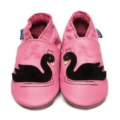 Swan Rose Pink/Black Soft handmade Leather Baby Shoes from Inch Blue - £20.00   http://www.babynotincluded.co.uk/animal-baby-shoes/swan-rose-pinkblack.html