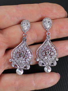 Vintage Chandelier Wedding Earrings, Crystal Bridal Earrings, Crystal Bridesmaid Jewelry, JESS Be Frosted. $59.00, via Etsy.