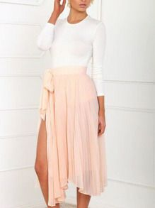 Long Sleeve Slim Top With Bow Slit Pleated Skirt