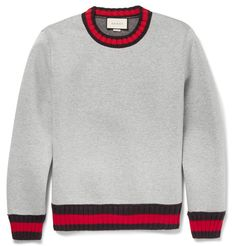 GUCCI Striped-Trimmed Cotton Sweatshirt. #gucci #cloth #sweats