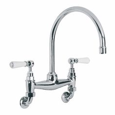 victorian wall mounted kitchen faucet w/swivel spout and hand